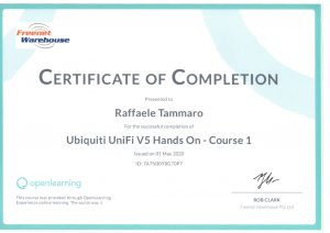 Certificate of Completion Ubiquiti Course 1